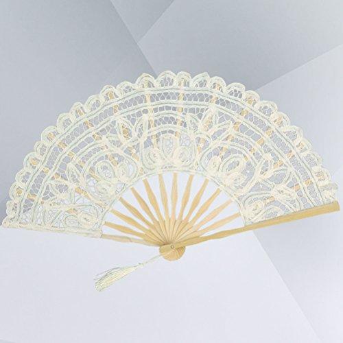 Amosfun Un Abanico Antiguo,Elegante,Encaje,una Mano con Abanico Plegable,un Ventilador de algodón para...