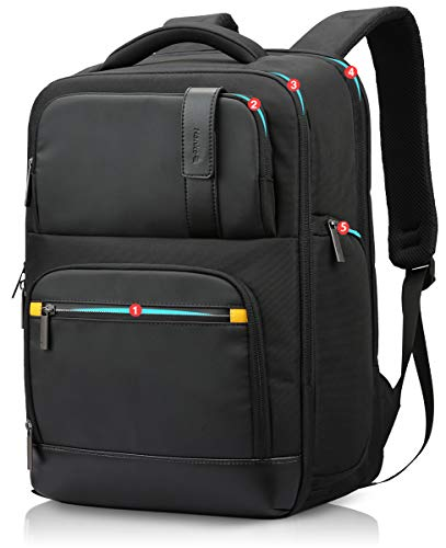 Anti-Theft Laptop Backpack Mens School Bag with USB Charging Port RFID College Rucksack Water Resistant Bookbag Travel Backpack for Women,Black