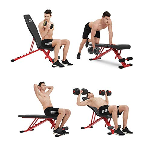 Upgraded-Adjustable-Bench-Folding-Weight-Bench-Press-for-Body-Workout-Fitness-220-LBS-Capacity-Workout-Bench-for-Incline-Decline-Flat-Exercise-Training-Red