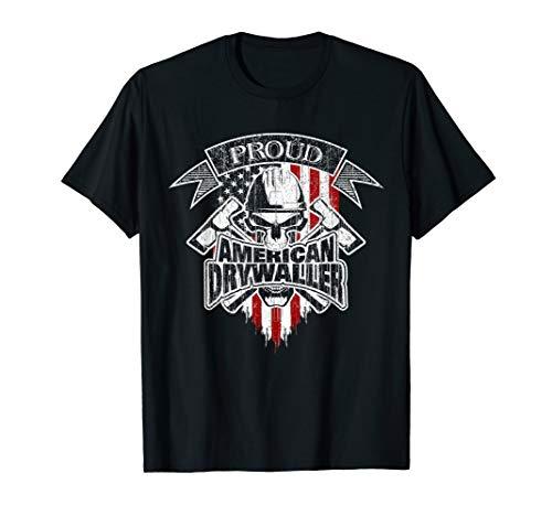 Drywaller T-Shirt American Flag Skull and Drywall Hammers