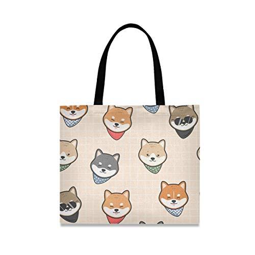 Simpatico cane giapponese Shiba tela Tote Bag per le donne grandi borse riutilizzabili della spesa con tasca interna borsa per la spesa per palestra, spiaggia viaggi all'aperto