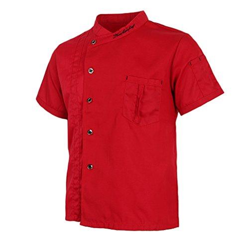 P Prettyia Atmungsaktive Kurzarm Kochjacke Backjacke Kochkleidung Koch Gastronomie Berufsbekleidung Arbeitskleidung für Restaurant Gastronomie – Rot, 2XL - 8
