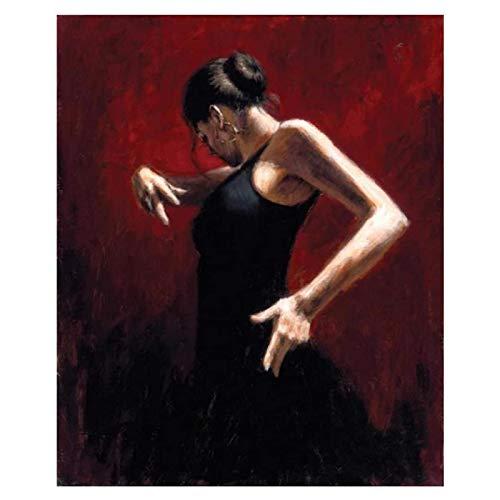 YANGMENGDAN Art Good Painting - Spanish Dancer Flamenco Dance Woman Painted Art On Canvas-50X70Cm Unframed 1 Pcs