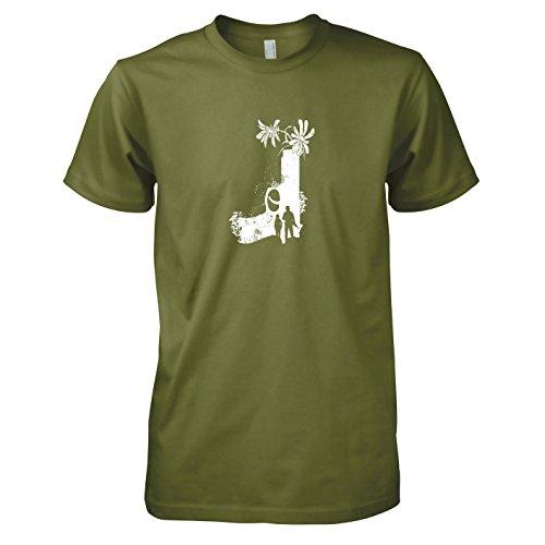Texlab - Flower Gun - Herren T-Shirt, Größe XXL, Oliv