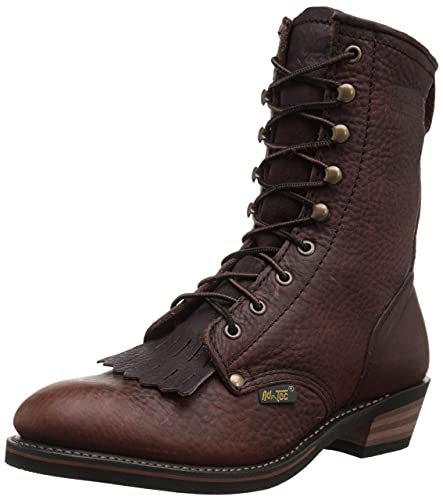 """AdTec Men's 9"""" Packer Tumbled Leather Lacer Work Boots for Men, Chestnut - Plain Soft Toe, Moderate Mens Hiking Boots"""