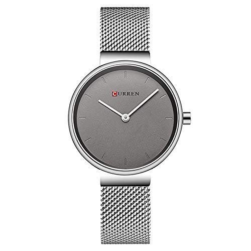 WZFCSAE Fashion Wristwatches Women Stainless Steel Band Donna Dress Orologi Donna Quartz-Watch Relogio Feminino New, Grey Grey