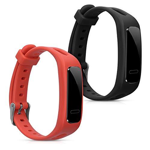 kwmobile 2X Cinturino Compatibile con Honor Band 3e - Cinturini Silicone Nero/Arancione - Fascetta con Fibbia 14-22 cm