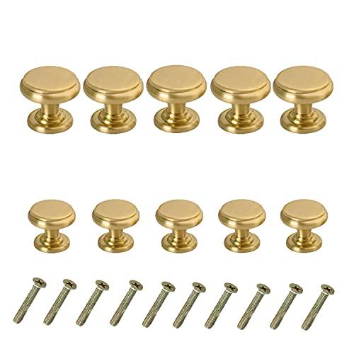 【CRSHIP】真鍮 取っ手 中世のモダンなスタイル プルハンドル ドア取っ手 食器棚 家具 引き出し つまみ 化粧台 バスルーム (ゴールド,10個入,20mm+25mm)