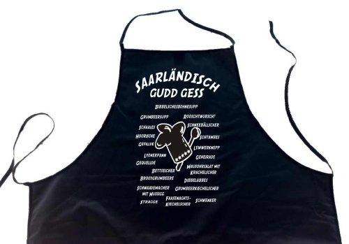 ShirtShop-Saar Saarländisch gudd gess (+Gerichte); Koch/Grillen Schürze (Latzschürze - Grillen, Kochen, Berufsbekleidung), schwarz