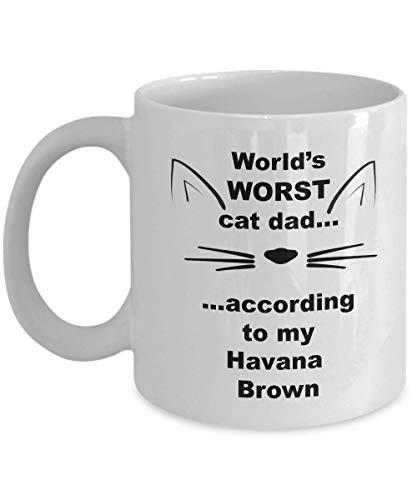 Taza de café divertida Havana Brown World's Worst Cat Dad, mercancía, cosas para hombres, regalos para amantes de los gatos, padres adoptivos, taza de té, regalos para él