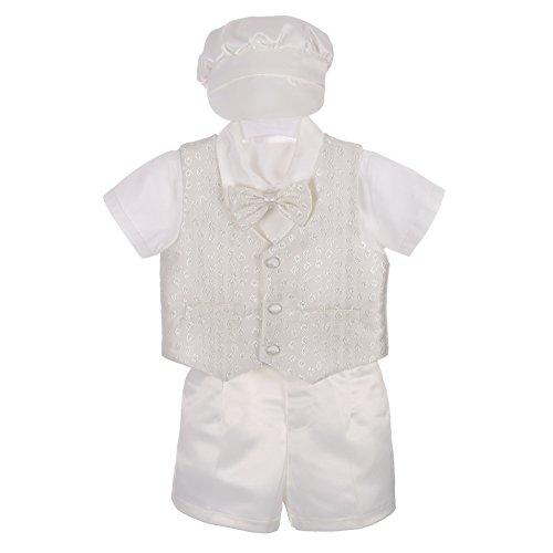 Lito Angels Baby Jungen 4 Stück Taufbekleidung Taufanzug Taufe Hochzeit Anzug mit Hut 6-9 Monate Elfenbein