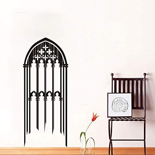 Gotische Fenster Wandtattoo Kerzen Blumen Verzierung Aushöhlen Abnehmbare Pvc Wandaufkleber Raumdekoration 56 Cm X 134 Cm