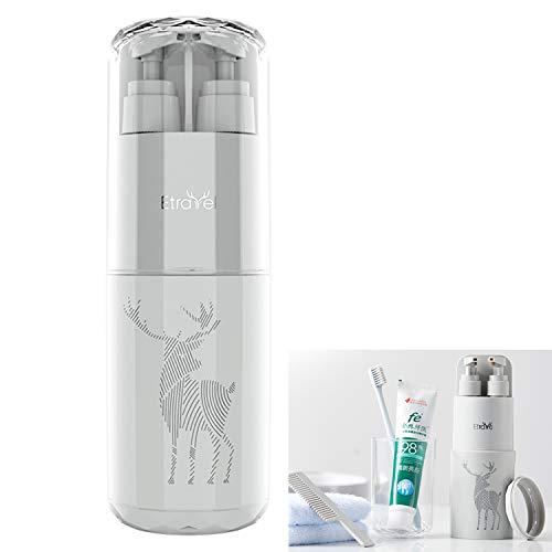 Meiyijia Porta Spazzolino da Viaggio, Con gel doccia / shampoo / bottiglia, Specchio per il trucco/Pettine,Portatile, Antipolvere,Custodia per spazzolino per Viaggi (Grigio)