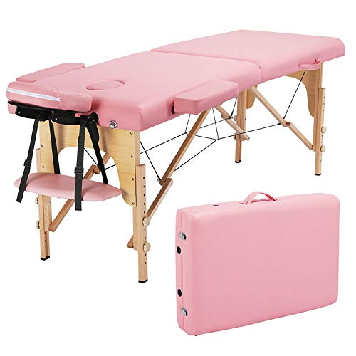 RICA-J Portable Massage Table, PVC Leather Massage Bed, Massage Therapy Table with Beech Stands, Spa Bed 73in Adjustable 2 Fold Salon Bed, Face Cradle Bed with Carrying Case (Pink)