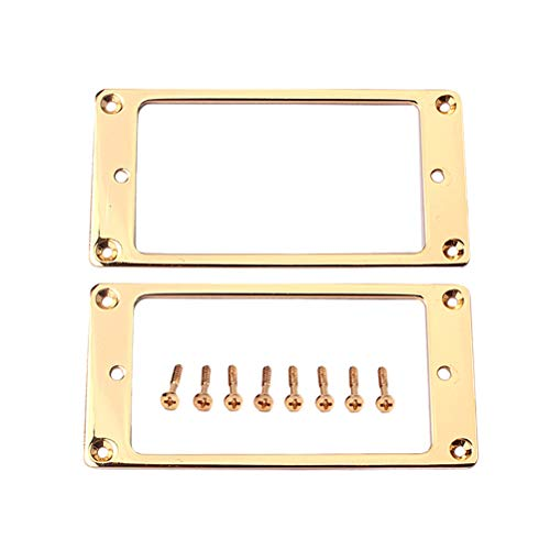 HEALLILY 2 pezzi cromo piatto in metallo Humbucker Pickup anelli di montaggio telaio anello di montaggio base piatta pickup telaio con viti 92 X 46 mm (oro)