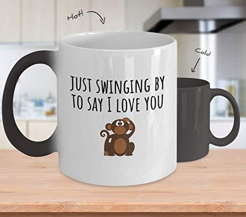 Cute Monkey Mug - Valentine's Day Gift - Just Swinging By To Say I Love You - Cute Animal Pun - Romantic Gift - Cute Color Changing Mug