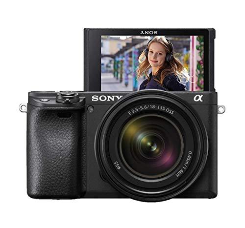 Sony Alpha 6400 E-Mount Systeemcamera (24 megapixels, 4K video, 180° klapscherm, 0.02 sec. Real-time autofocus met 425 contrast, AF-punten, XGA OLED-zoeker) zwart