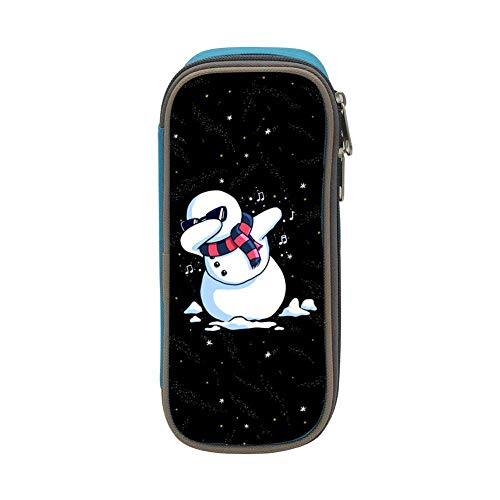 Lawenp Kids Dab Snowman Christmas Large Capacity Soft Pencil Case with Zipper for Boys and Girls Pink