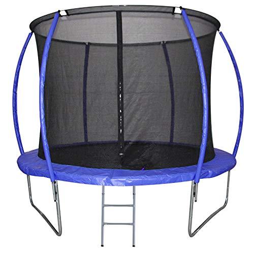 HOMCOM Cama Elástica Multifuncional Estable para Exterior e Interior Patio Gimnasio Trampolín Grande con Red Seguridad y Escalera Carga 100kg para Adultos y Niños Φ244x205 cm Azul