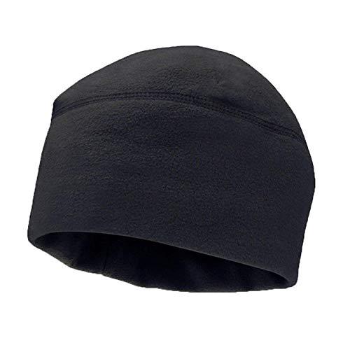 Gorro Beanie Sombrero Hat Hombres Mujeres Unisex Invierno Color Sólido Suave Cálido Reloj Gorra Polar Fleece Grueso Ejército Militar Beanie Sombrero A Prueba De Viento Al Aire Libre-Negro