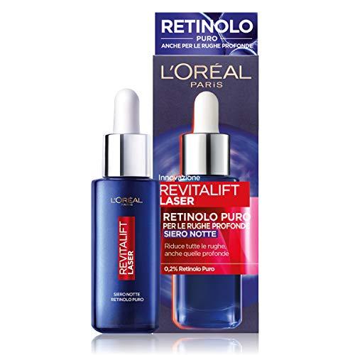 L Oréal Paris Siero Notte Revitalift Laser X3, Azione Antirughe Anti-Età con Retinolo Puro, 30 ml