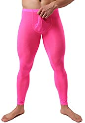 Men's see through long johns in pink lace and with pouch in front.