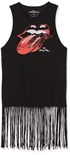 Rolling Stones The Vintage Tongue Logo (Tassels) Camiseta, Negro (Black Black), 40 (Talla del Fabricante: Large) para Mujer
