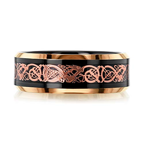 Kobelli 8MM Black and Rose Celtic Dragon Inlay Band - 10.5