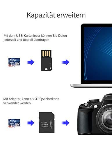 Netac 128G Micro SD Karte, UHS-I MicroSDXC Speicherkarte bis zu 90 MB/s Lesegeschwindigkeit(U3, A1, V30, 4K, C10), Memory Karte für Kameras, Tablets und Android Smartphones