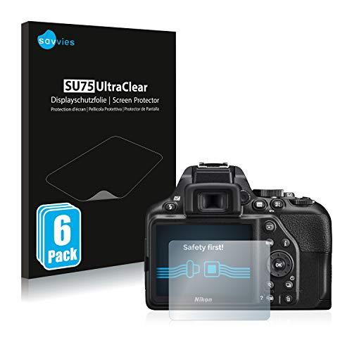 savvies Protector Pantalla Compatible con Nikon D3500 (6 Unidades) Película Ultra Transparente