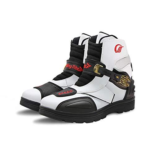 Sebasty Botas de Moto de Microfibra de Piel Sintética,Botas de Moto de Carreras Profesionales,Zapatos de Moto, Diseño Antideslizante y Anticolisión EPU 40-45 de Gran Tamaño,White-41