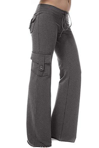 Emdmlgn Womens Yoga Pants Wide Leg Sweatpants Bootleg Pants with Muti Pockets (Dark Grey, S)
