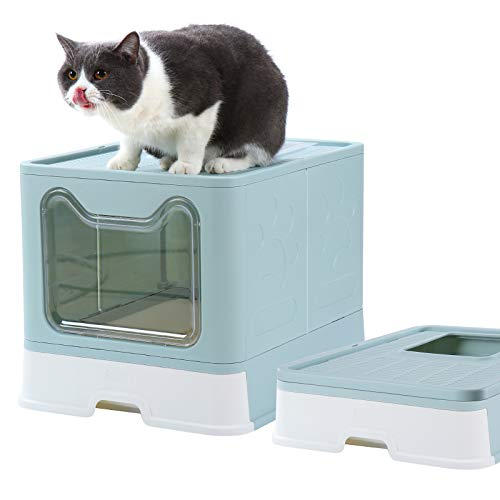 Dymoll Cat Litter Box, Foldable Top Entry Covered Cat Litter Box with Lid , Easy Clean No Smell Pet Jumbo Litter Box