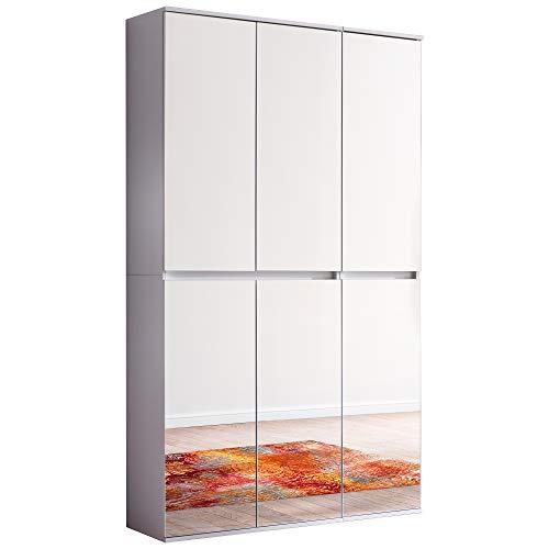 Trendteam smart living Garderobe Garderobenschrank Schrank Mirror, 111 x 191 x 34 cm in Korpus und Front Weiß Melamin Absetzung Spiegel mit viel Stauraum