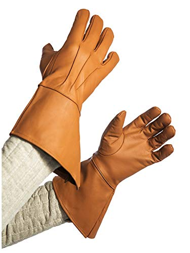 Andracor Robuste Stulpenhandschuhe aus echtem Leder für Verschiedene LARP-Charaktere - individuell einsetzbar für Mittelalter, Fantasy, Cosplay & Freizeit - Farbe: braun - Größe: L