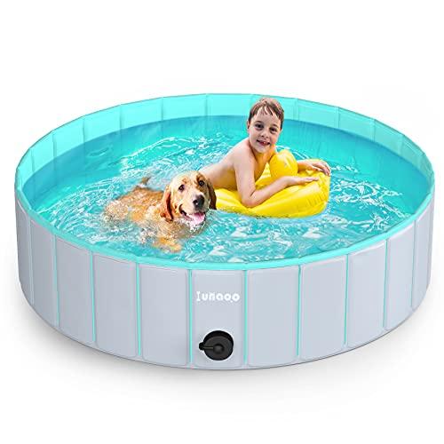 lunaoo Hundepool fur Große Hunde, Faltbare Schwimmbecken Hundebadewanne Hund Planschbecken für Kinder und Hunde, Tragbar & Eco-Friendly PVC Hunde Pool 80cm / 120cm / 160cm