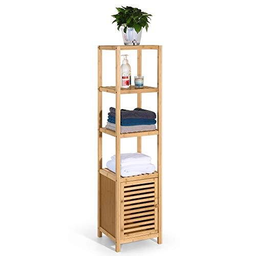 HYNAWIN Bamboo Bathroom 3-Tier Storage Shelf Rack,Multifunctional Free Standing Storage Cabinet Furniture with Door, Bamboo Floor Cabinet Use for Bathroom,Living Room, Bedroom, Kitchen
