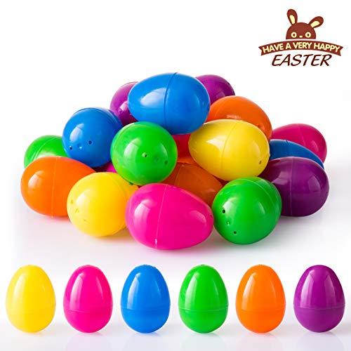 LIHAO 24 x Ostereier Bunt Plastik zum Befüllen und Basteln Ostern Deko für Eiersuche Plastikeier Spielzeug, 4 x 6 cm (MEHRWEG)