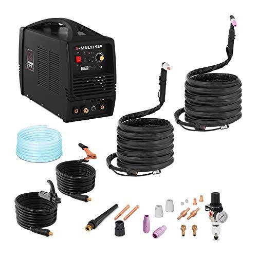 Stamos - Schweißgerät Kombi WIG TIG MMA Plasmaschneider Inverter (180 A, 230 V, 6 mm Schweißstärke, Powerventilatoren, 8 m Kabel + Zubehör) Schwarz