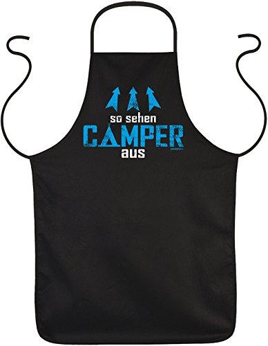Goodman Design ® Sprüche Campingschürze - Grillschürze Camper : So sehen Camper aus - Kochschürze Campingplatz Farbe: schwarz
