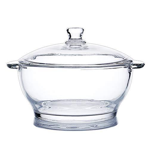 LH-RUG Olla de Vidrio Transparente,con Tapa,Mango de Cacerola de Vidrio de borosilicato,Olla Multiusos Resistente al Calor,para Pasta,Fideos,Sopa,Leche,Comida para bebés (2.5L,Transparent)