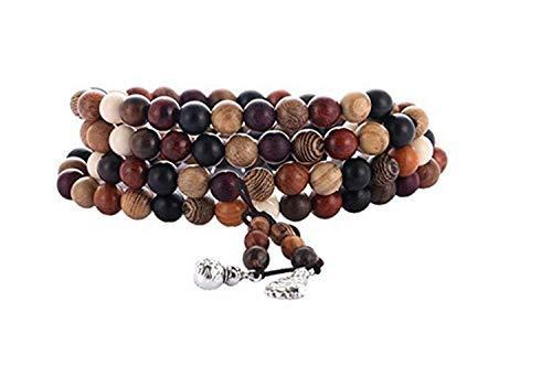 Coquelicot et Coccinelle Meditations-Armband, Buddhistisch, tibetisch, 108 Perlen, 8 mm, aus Naturholzmischung, Rose, Sandelholz, Akazie, Pin, Mahagoni, Teakholz, Palisander und Ebenholz