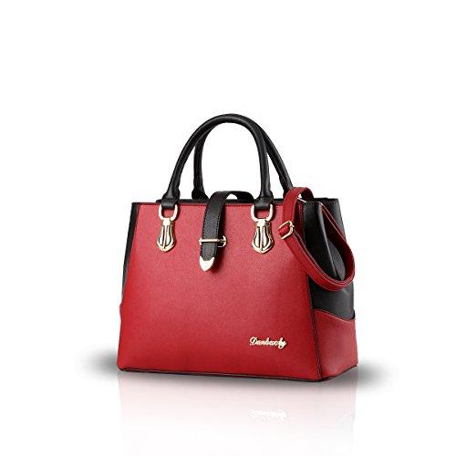 NICOLE & DORIS 2021 Mode Handtaschen für Frauen Umhängetasche Damen Tragetaschen Shopper Elegant Schultertasche PU Leder Tasche Weinrot
