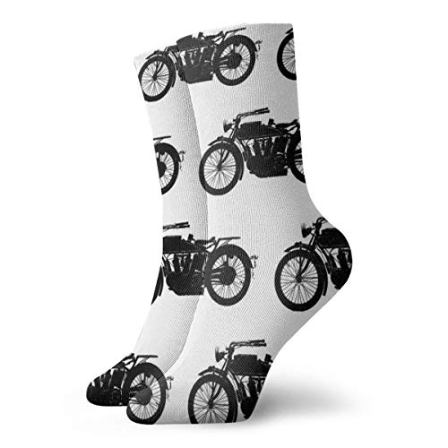 Unisex Crew Socks Cool Crazy Antique Motorcycle Pattern Cushioned Crew Socks Moisture Control Best Athletic Cushioned Crew Socks for Sports, Running, Travel (1 Pair)