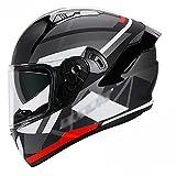Modular Integrado Casco Moto Homologado ECE,Casco de Moto Integral Mujer Hombre Jóvenes Doble Visera Forro Interior Cómodo y Cálido C,XXL=62~63cm