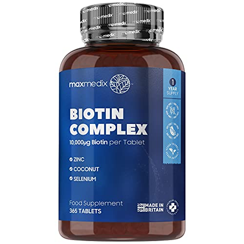 Biotin Hair Growth Supplement with Coconut Oil, Zinc & Selenium - 365 Vegan Tablets (1 Year Supply) 10,000mcg Vitamin B7 Beauty Complex for Hair, Skin & Nail Health in Women & Men - Made in The UK