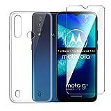 LJSM Hülle für Motorola Moto G8 Power Lite + Panzerglas Bildschirmschutzfolie Schutzfolie - Transparent Weich Silikon Schutzhülle Flexibel TPU Tasche Hülle für Motorola Moto G8 Power Lite (6.5