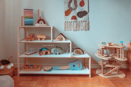 Mami | Estantería escalonada Montessori de madera para niños | Dormitorio de niños | Porta objetos juguetes de peluche libros | Estantería para niños