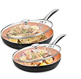 10'+12' Nonstick Frying Pan Sets with Lids - Ultra Nonstick Cookware Sets with Ceramic Coating, 100% APEO & PFOA-Free, Oven Safe & Induction Available Skillets, Stainless Steel Handle, Aluminum Alloy