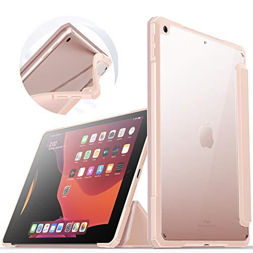INFILAND Hülle für iPad 9,7 2018/2017, Superleicht Transluzent Zurück TPU-Grenze Schutzhülle mit Auto Schlaf/Wach Funktion für 9,7 Zoll iPad (6. Generation/ 5. Generation),Rosa
